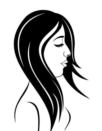 Illustration beauty face girl portrait - vector Stock Illustration - 9896100