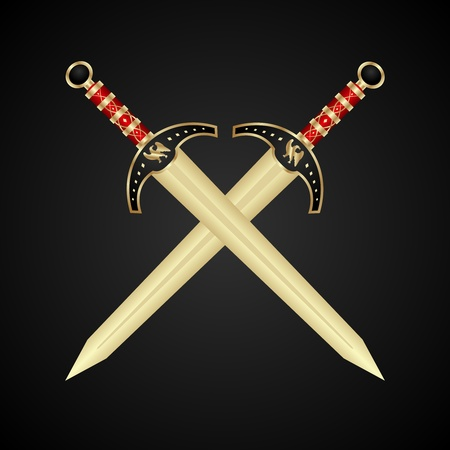 Illustration two medieval swords isolated - vector Stock Illustration - 9896107