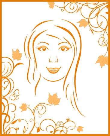 Illustration abstract face autumn girl portrait - vector Vector