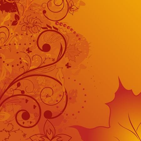 Illustration grunge autumn background, element for design - vector Illustration