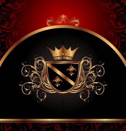 nobility: Illustration golden vintage frame for design packing - vector Illustration