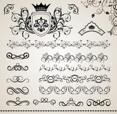 Illustration set floral ornate design elements (5) - vector Vector