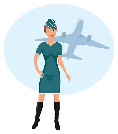Illustration beautiful stewardess at the airport - vector Vector