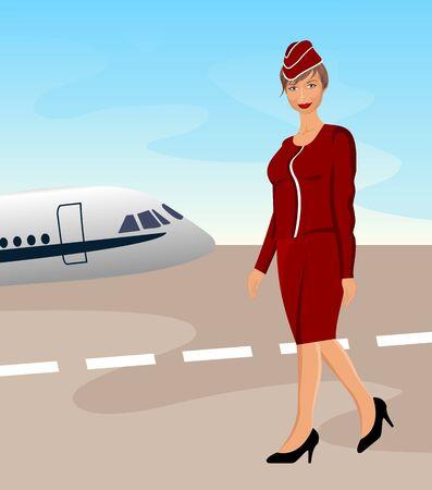 air hostess: Hôtesse de l'air belle illustration à l'aéroport - vecteur