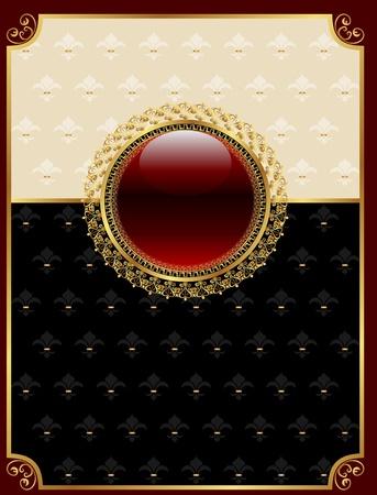 black carpet: Illustration golden vintage frame with floral medallion - vector