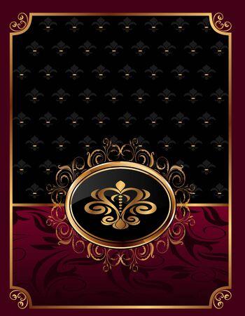 Illustration golden ornate frame with emblem - vector Stock Vector - 9896159