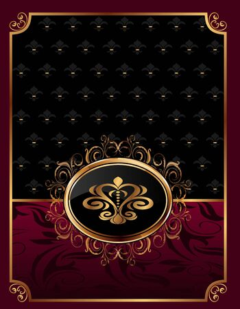 Illustration golden ornate frame with emblem - vector