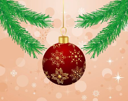 Illustration Christmas background with branch and ball  illustration