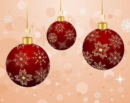 Illustration Christmas background with set balls  illustration