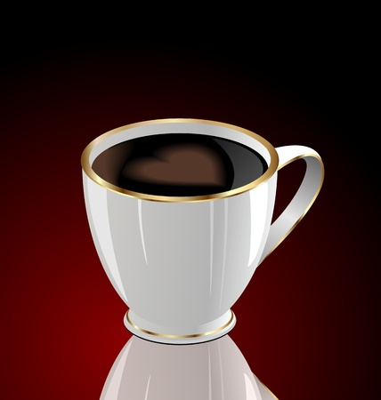 Illustration of coffee cup with love heart on dark red background illustration