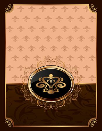 Illustration golden ornate frame with emblem  illustration