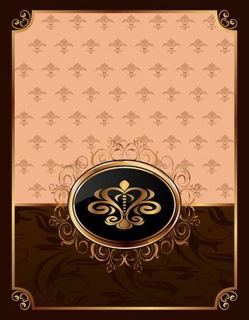 Illustration golden ornate frame with emblem  illustration