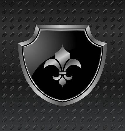 anti: Illustration heraldic shield on metallic background