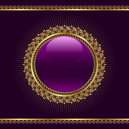 Illustration golden ornamental medallion for design