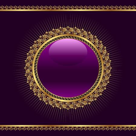 Illustration golden ornamental medallion for design