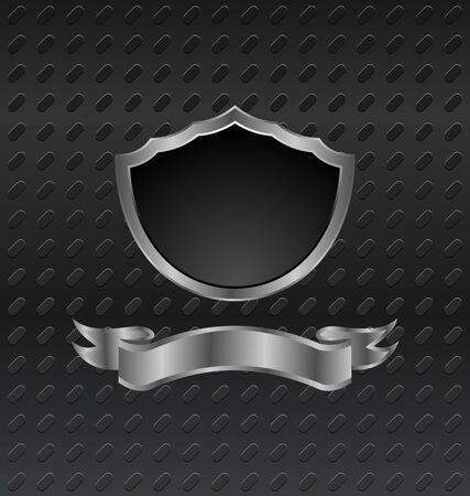 3 dimensions: Illustration heraldic shield on metallic background