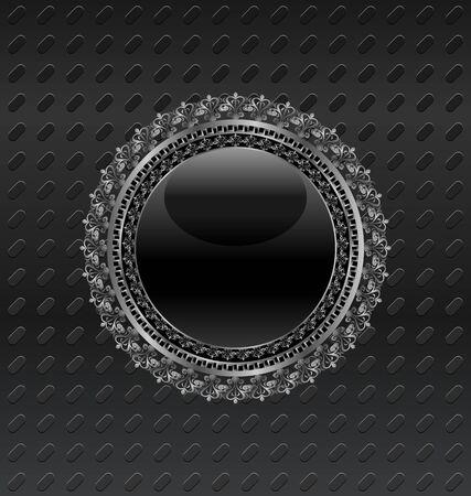 Illustration heraldic circle shield on metallic background Stock Illustration - 10163825