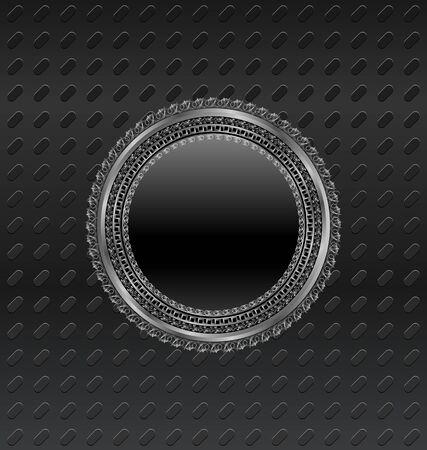 Illustration heraldic circle shield on titanium background Stock Illustration - 10163829