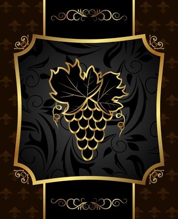 Illustration golden frame with grapevine illustration
