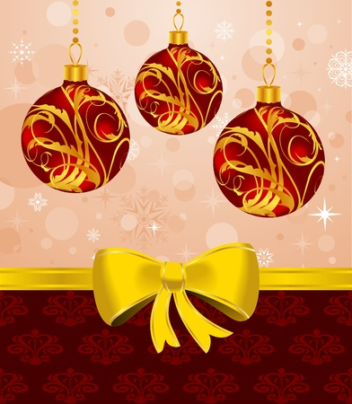 trumpery: Illustration Christmas card or background with set balls