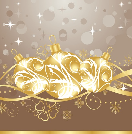 Illustration background with Christmas balls and tinsel  illustration