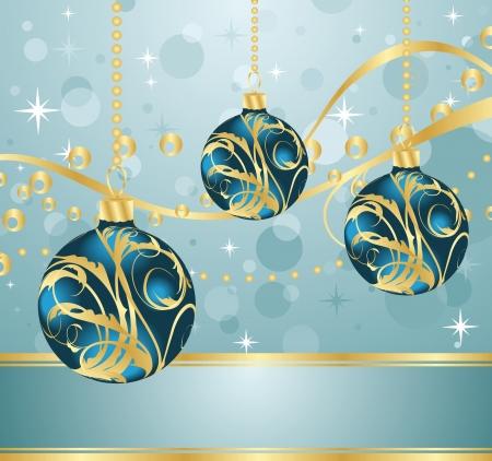 feliz: Illustration abstract blue background with Christmas balls  Stock Photo