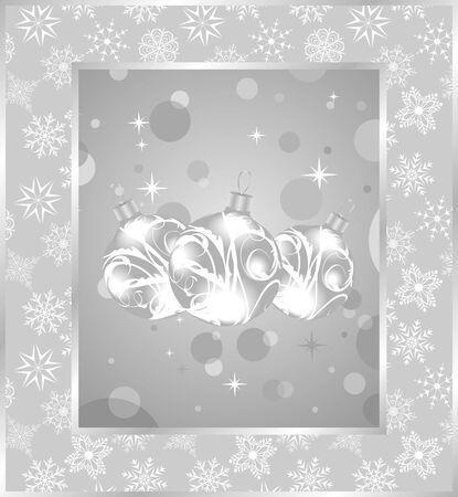 Illustration set Christmas balls on snowflakes background illustration
