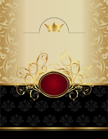 Illustration luxury gold label with emblem  Stock Photo