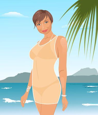 Illustration pretty suntanned girl on beach Stock Illustration - 10508758