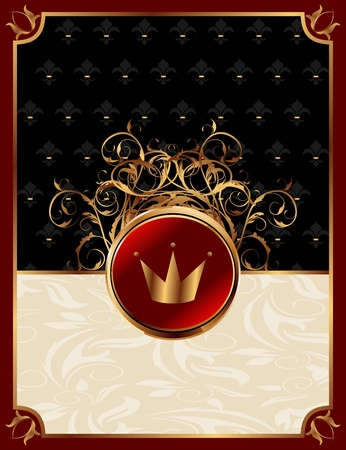 Illustration gold invitation frame with crown or packing for elegant design  illustration