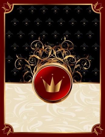 Illustration gold invitation frame with crown or packing for elegant design  illustration