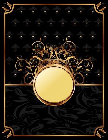 Illustration gold invitation frame or packing for elegant design  illustration