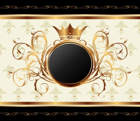 heraldic symbol fleur de lis: Illustration gold invitation frame or packing for elegant design