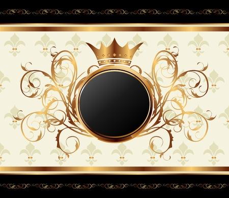 Ilustracja złota zaproszenie ramki lub pakowania dla zatopioną