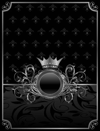 chrom: Illustration aluminum background with ornamental medallion, design elements Stock Photo