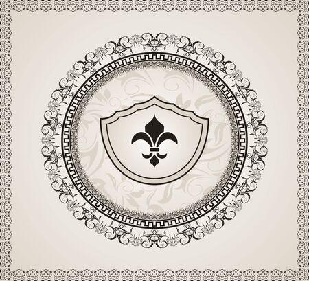 Illustration cute background with heraldic element  illustration