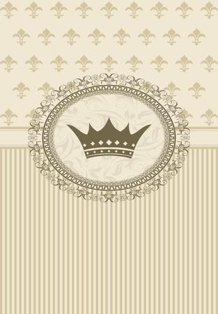 Illustration vintage background with floral frame and crown illustration