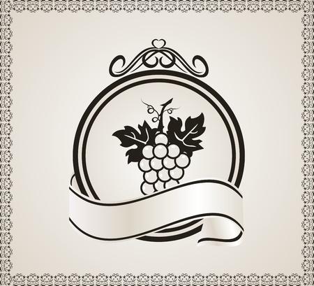 Illustration retro label for packing wine illustration