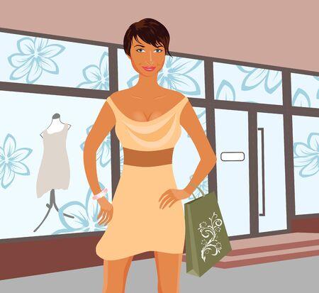 show window: Illustration fashion shopping girl near shop  Stock Photo