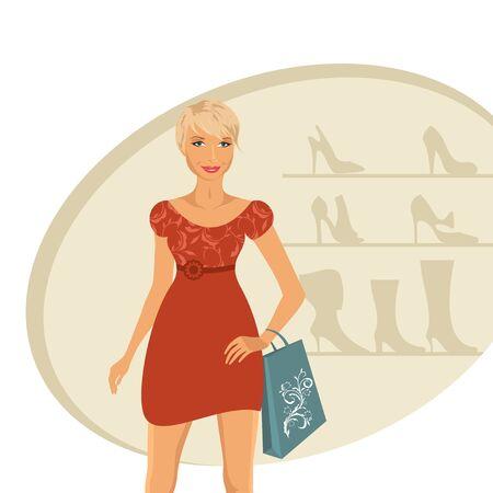 foot gear: Illustration fashion girl shopping in shoe shop