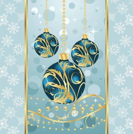 Illustration Christmas background with set balls - vector illustration