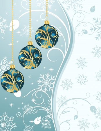 Illustration Christmas background with set balls - vector illustration
