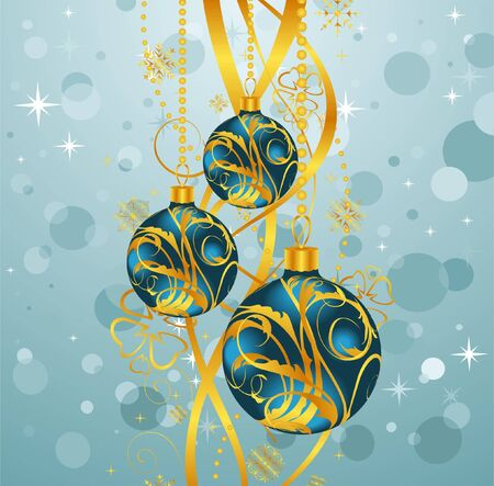 Illustration abstract blue background with Christmas balls - vector illustration