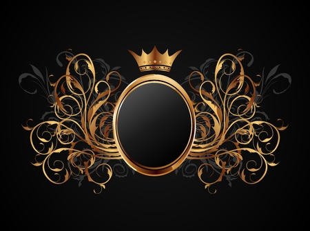 Illustration floral frame with heraldic crown - vector