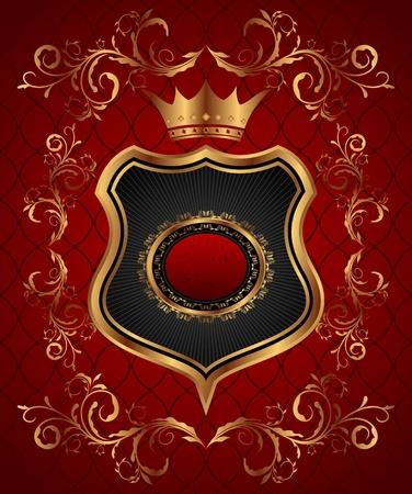 Illustration elegant gold heraldry frame - vector illustration