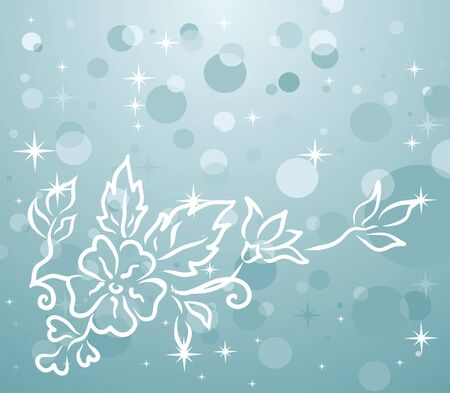trumpery: Illustration of winter background with floral branch - vector