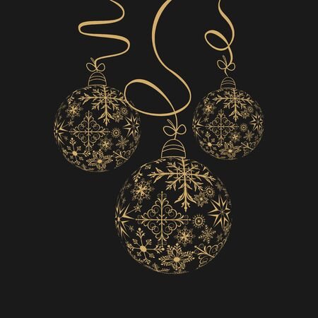 Illustration cute christmas composition with balls - vector illustration