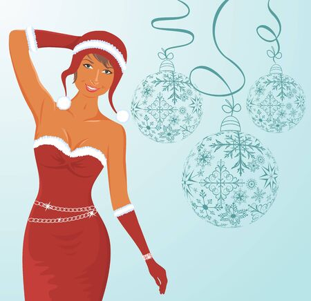 trumpery: Illustration christmas background with sexy lady and balls - vector Stock Photo