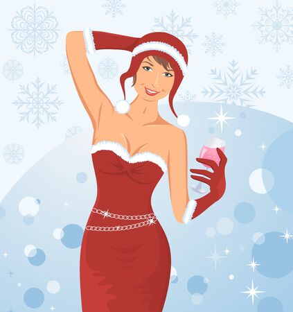 Illustration christmas lady with cokctail - vector Stock Illustration - 10898131