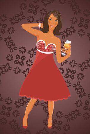 Illustration disko diva with cocktail - vector illustration